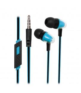 Słuchawki douszne z mikrofonem i pilotem na kablu Pixel - niebieskie