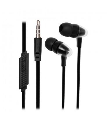 Słuchawki douszne z mikrofonem i pilotem na kablu Pixel - czarne