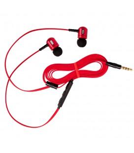 Słuchawki douszne z mikrofonem i pilotem na kablu Rythmic - czerwone