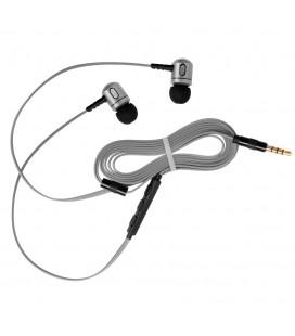 Słuchawki douszne z mikrofonem i pilotem na kablu Rythmic - szare
