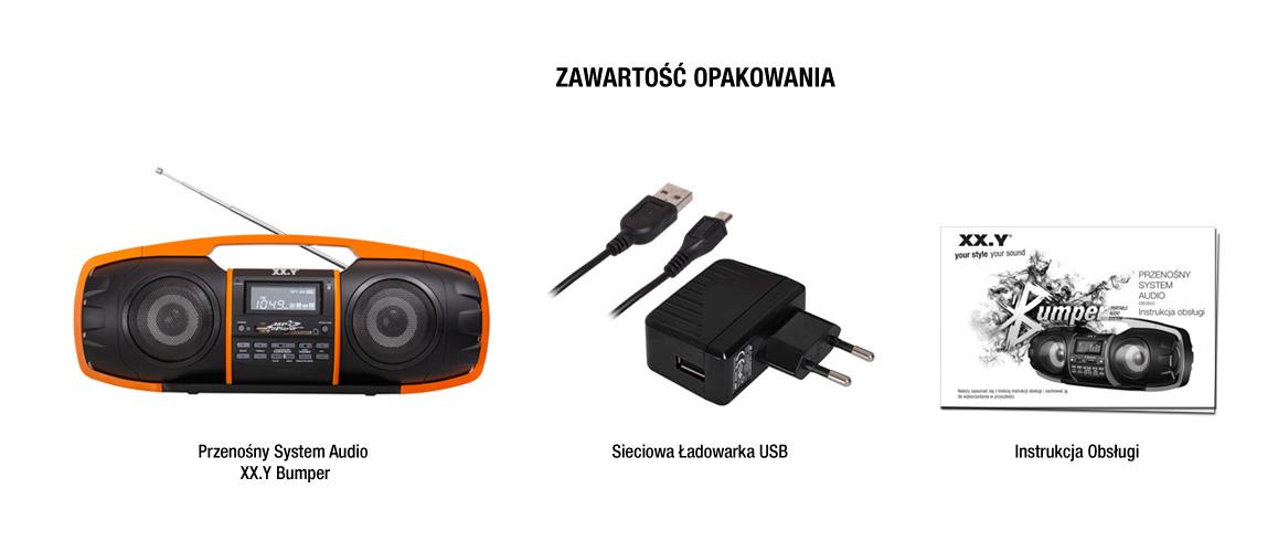 Przenośny system audio Bluetooth - zawartość opakowania