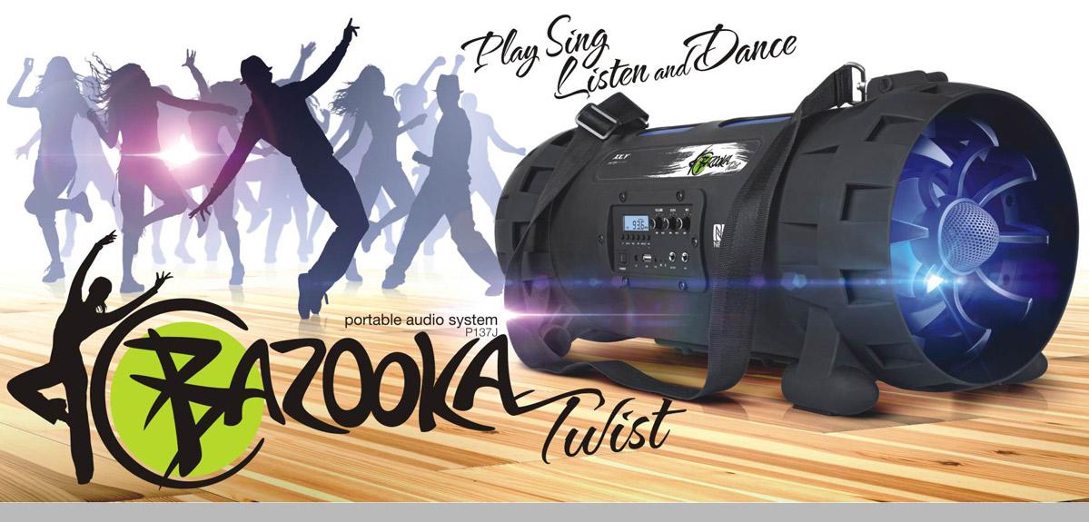 Przenośny system audio Bluetooth, z USB, radiem - Bazooka Twist
