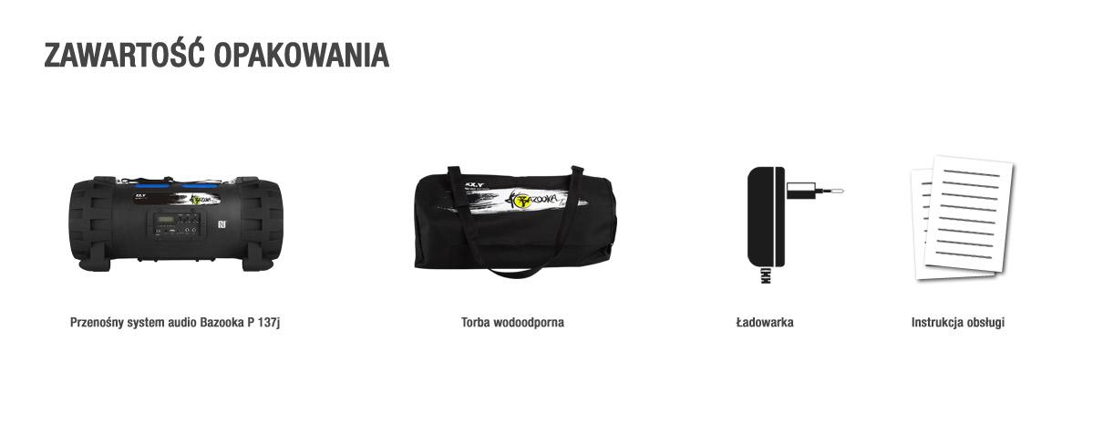 Przenośny system audio Bluetooth z radiem i USB - Bazooka Twist - zawartośc opakowania