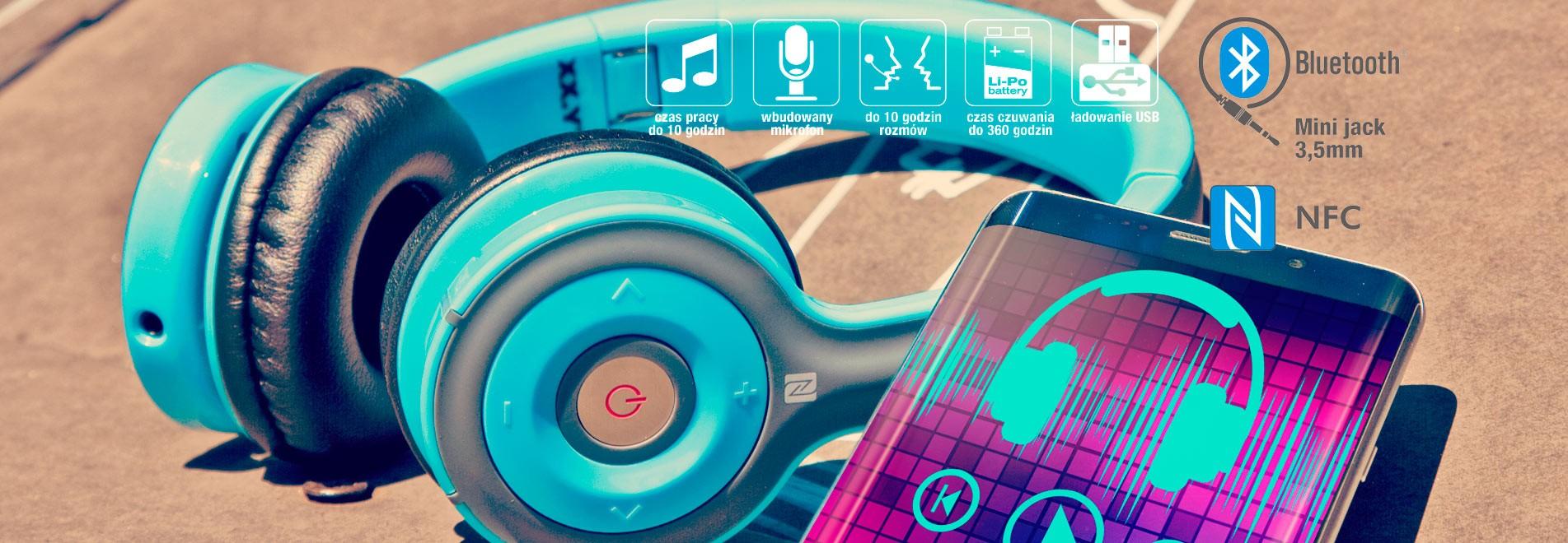 Kolorowe słuchawki nauszne Bluetooth i NFC - JELLO