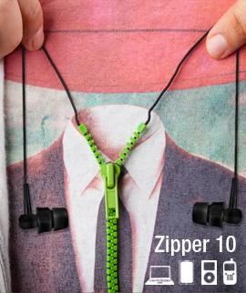 Słuchawki douszne w z kablem w formie zamka błyskawicznego - Zipper 10