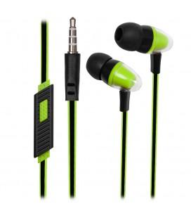 Słuchawki douszne z mikrofonem i pilotem na kablu Pixel - zielone