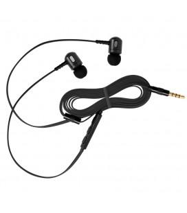 Słuchawki douszne z mikrofonem i pilotem na kablu Rythmic - czarne